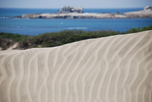 Patterns in sand dunes with Ocean in background